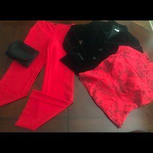 SISLEY pant, oriental top, velvet blazer & clutch